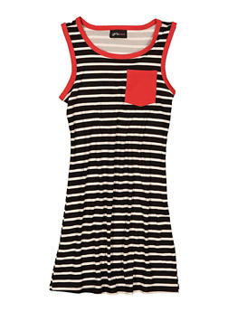 Girls Striped Contrast Trim Tank Dress - 1615051060686