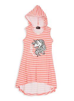 Girls Magical Unicorn Graphic Striped Dress - 1615051060693