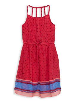 Girls 7-16 Border Print Dress - 1615054730021