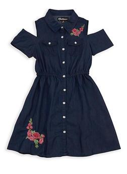 Girls 7-16 Cold Shoulder Denim Dress - 1615054730023