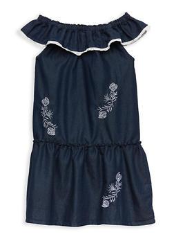 Girls 7-16 Embroidered Denim Off the Shoulder Shift Dress - 1615054730024