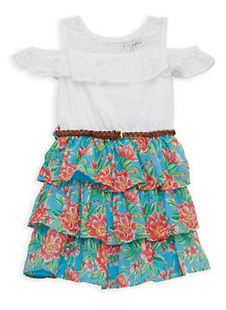 Girls 4-16 Lace Cold Shoulder Tiered Skater Dress - 1615054730031