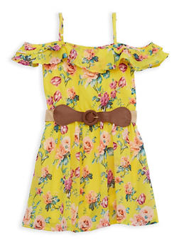 Girls 7-16 Floral Off the Shoulder Belted Skater Dress - 1615054730033