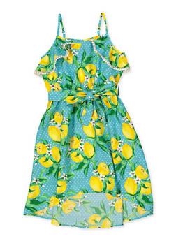 Girls 7-16 Lemon Print High Low Dress - 1615054730035