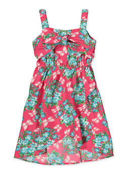 Girls 7-16 Floral Butterfly Tie Front Dress - 1615054730036