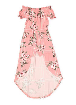 Girls 7-16 Printed Off the Shoulder Maxi Romper - 1615060580052