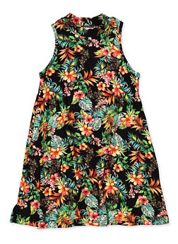 Girls 7-16 Sleeveless Tropical Floral Dress - 1615060580065
