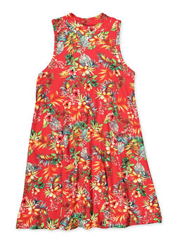 Girls 7-16 Tropical Floral Mock Neck Dress - 1615060580066