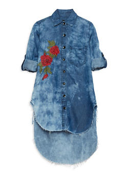 Girls 7-16 Rose Embroidered Denim Shirt Dress - 1615063400007