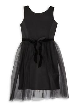 Girls 7-16 Black Tulle Tie Waist Dress - 1615063400071