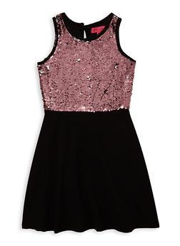 Girls 7-16 Reversible Sequin Skater Dress - 1615063400072
