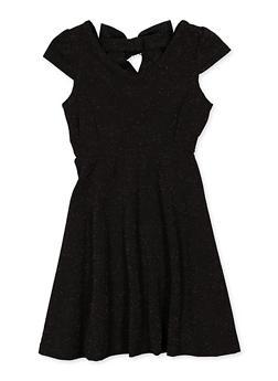 Girls 7-16 Lurex Bow Detail Skater Dress - 1615063400075