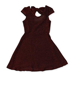 Girls 7-16 Glitter Knit Bow Back Skater Dress - 1615063400076