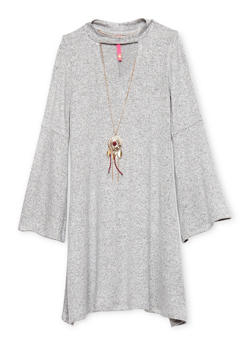 Girls 7-16 Marled Bell Sleeve Dress with Necklace - 1615066590005