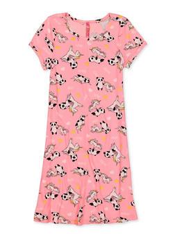 Girls 7-16 Panda Unicorn Soft Knit Dress - 1615066590025