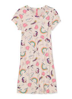 Girls 7-16 Unicorn Love Soft Knit Dress - 1615066590027