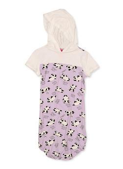 Girls 7-16 Panda Print Hooded Dress - 1615066590030
