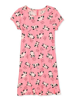 Girls 7-16 Panda Print T Shirt Dress - 1615066590031