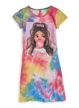 Girls Queen Patch Tie Dye Shirt Dress - 1615066590111