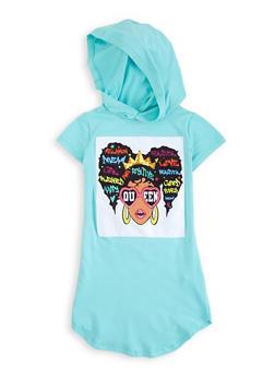Girls Queen Patch Hooded T Shirt Dress - 1615066590123