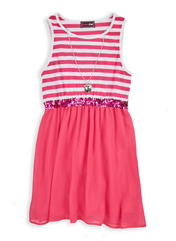 Girls 7-16 Striped Sequin Detail Skater Dress - 1615073990001