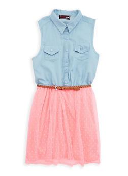 Girls 7-16 Belted Denim Tulle Skater Dress - 1615073990003