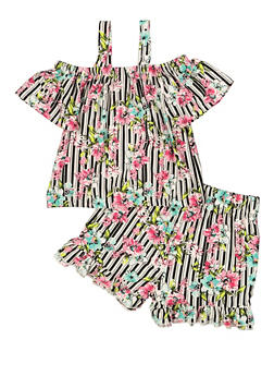 Girls 4-6x Floral Striped Top and Shorts Set - 1616023130010
