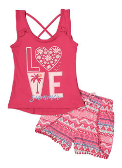 Girls 4-8 Summer Love Graphic Tank Top and Shorts - 1616023130011