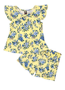 Girls 4-6x Soft Knit Floral Tee and Shorts Set - 1616023130012