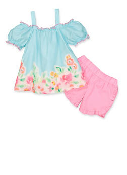 Girls 4-6x Floral Border Print Top and Shorts Set - 1616023261000