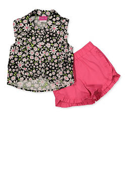 Girls 4-6x Floral Sleeveless Shirt and Shorts Set - 1616023261001