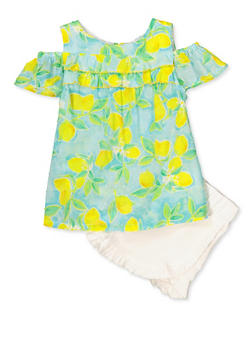 Girls 4-6x Lemon Print Cold Shoulder Top and Shorts - 1616023261005