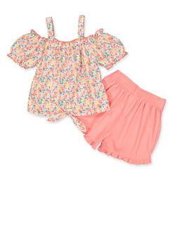 Girls 4-6x Floral Cold Shoulder Top and Shorts Set - 1616023261007