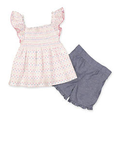 Girls 4-6x Polka Dot Smocked Top and Chambray Shorts Set - 1616023261016
