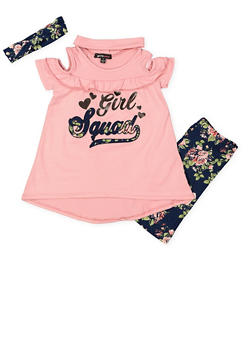 Girls 4-6x Graphic Top with Bike Shorts and Headband - 1616038340006