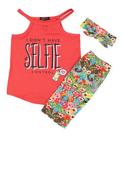Girls 4-16 Graphic Top with Floral Shorts and Headband - 1616038340007
