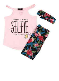 Girls 4-6x Graphic Top with Floral Shorts and Headband - 1616038340007