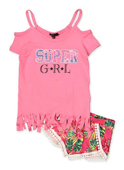 Girls 4-6x Super GRL Cold Shoulder Top and Floral Shorts - 1616038340036