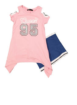 Girls 4-6x Queen Asymmetrical Top with Shorts - Pink - Size 6 - 1616038340038