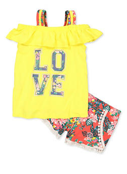 Girls 4-6x Floral Love Cold Shoulder Top and Shorts - 1616038340039