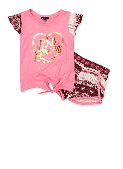 Girls 4-6x Girl Power Tie Front Top and Shorts - 1616038340042