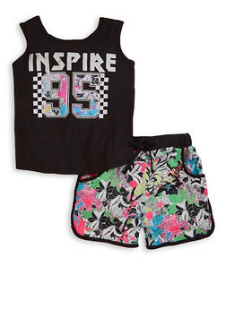 Little Girls Inspire 95 Tank Top and Shorts Set - 1616038340100