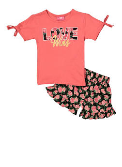 Girls 4-6x Love Wins Tee and Floral Shorts - 1616048370008