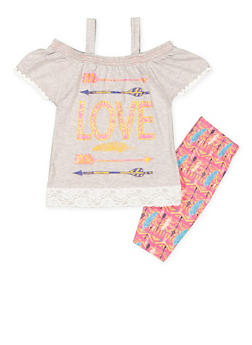 Girls 4-6x Graphic Top with Bermuda Shorts - 1616054730017
