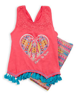 Girls 4-6x Graphic Racerback Tank Top with Shorts - 1616054730019