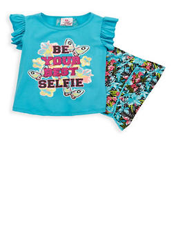 Girls 4-6x Graphic Flutter Sleeve Top with Shorts - 1616054730022