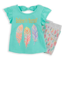 Girls 4-6x Graphic Top with Leaf Print Shorts - 1616054730029