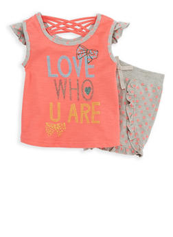 Girls 4-6x Caged Back Graphic Top and Printed Shorts Set - 1616054730035