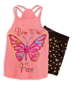 Girls 4-6x Glitter Graphic Tank Top and Shorts Set - 1616054730036