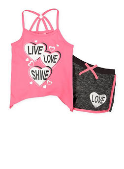 Girls 4-6x Graphic Tank Top with Shorts - 1616054730037